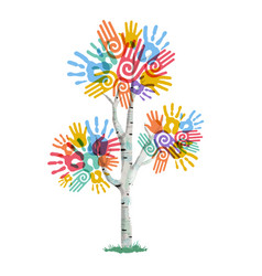 tree with human hands for social work help vector image