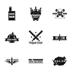 vape bar logo set simple style vector image