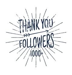 Vintage Thank you followers badge Social media vector image