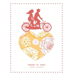 warm day flowers couple on tandem bicycle heart vector image