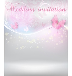 Wedding invitation with butterflies vector