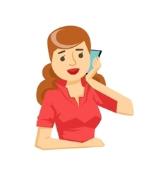 Woman In Red Blouse Chatting On Smartphone Part vector image