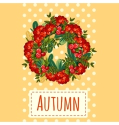 Wreath of leaves and berries holiday decoration vector