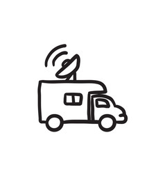Broadcasting van sketch icon vector
