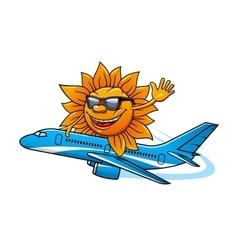 Cartoon sun in sunglasses flying on airplane vector