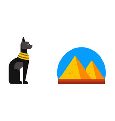 flat design egypt pyramid travel icon vector image vector image