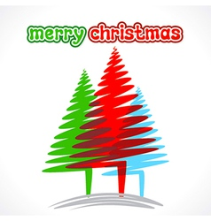 merry christmas greeting tree design vector image