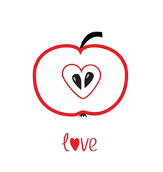 Red apple with heart shape Love card vector image vector image