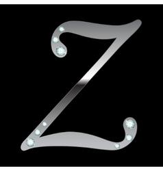 silver metallic letter Z vector image