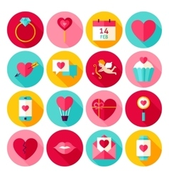Valentines Day Love Flat Icons vector image vector image
