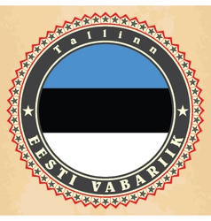 Vintage label cards of Estonia flag vector image