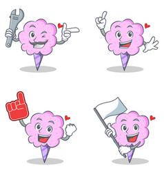 Cotton candy character set with mechanic foam vector