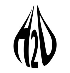 formula of water h2o in the form of a drop concept vector image