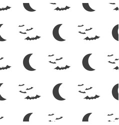 halloween seamless pattern moon and bat vector image vector image
