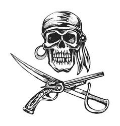 pirate skull bandanna vector image