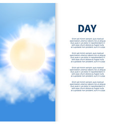 sunny day poster design with sun and clouds vector image vector image