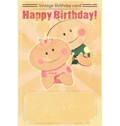 Vintage Design Baby Birthday Card vector image vector image
