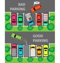 Bad and Good Parking Top View vector image