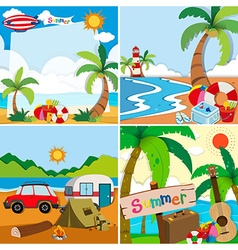 Four scenes of summer vacation on the beach vector image