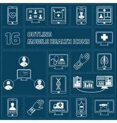 Mobile health icons set outline vector image vector image