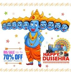 Ravana for Happy Dussehra sale promotion vector image
