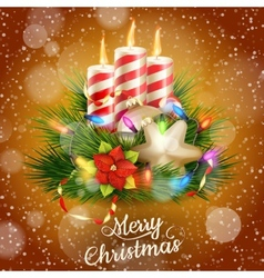 Candles and Christmas ornaments EPS 10 vector image