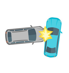 cartoon car crash road accident vector image vector image