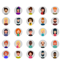 set of twenty five avatar icons flat style vector image