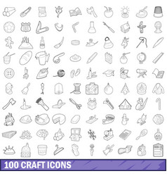 100 craft icons set outline style vector