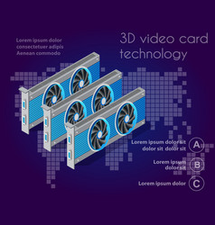3d isometric video graphic card vector image