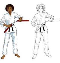African American Nunchuck girl in karategi vector