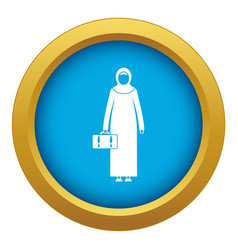 Arabic woman icon blue isolated vector