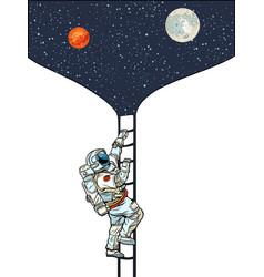 astronaut climbs stairs to moon and mars vector image