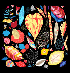 autumn set colorful leaves vector image
