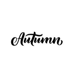 autumn word hand lettering handmade vector image