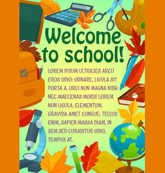back to school greeting banner with student items vector image