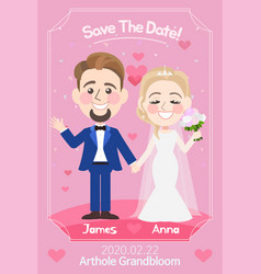 beautiful wedding card template vector image