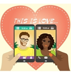 Beautiful young man and woman in love on the vector image