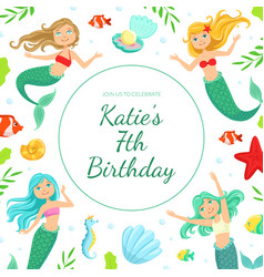 birthday banner template with cute mermaids and vector image