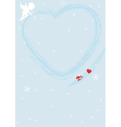 Blue valentine background with heart vector image