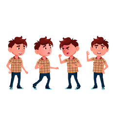 Boy kindergarten kid poses set friendly vector