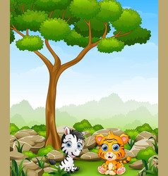Cartoon baby zebra with baby tiger sitting in the vector
