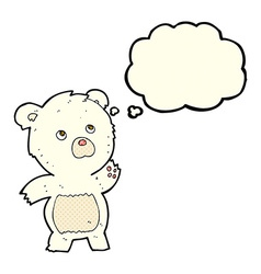 Cartoon curious polar bear with thought bubble vector