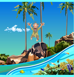 cartoon funny man jumping into the sea vector image