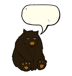 Cartoon unhappy black bear with speech bubble vector