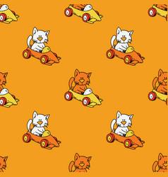 Cat driving race car seamless pattern vector