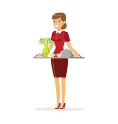 Cheerful waitress character wearing uniform vector