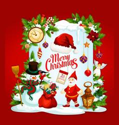 Christmas greeting card of santa and new year gift vector