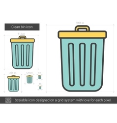 Clean bin line icon vector