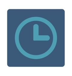 Clock flat cyan and blue colors rounded button vector